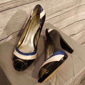 Patent Leather Peep Toe Heels 10
